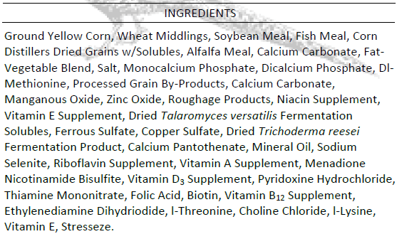 Gamebird Ingredients